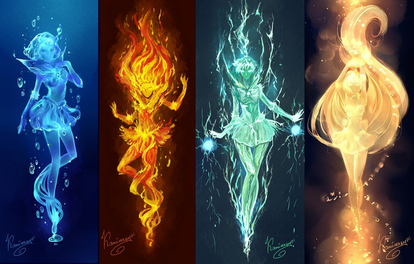 Wallpaper water, light, girls, fire, elements, anime, art ...