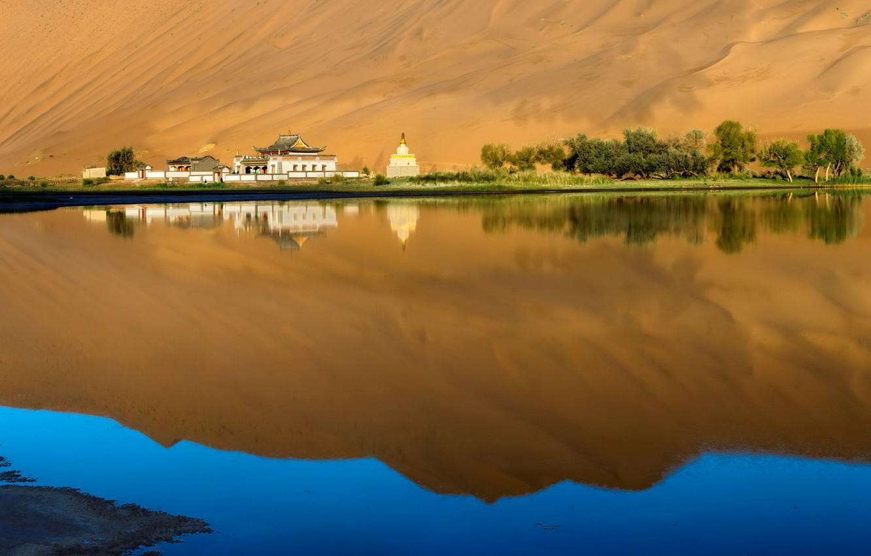 Photo wallpaper trees, lake, house, reflection, Asia, barkhan, pagoda, oasis, dune