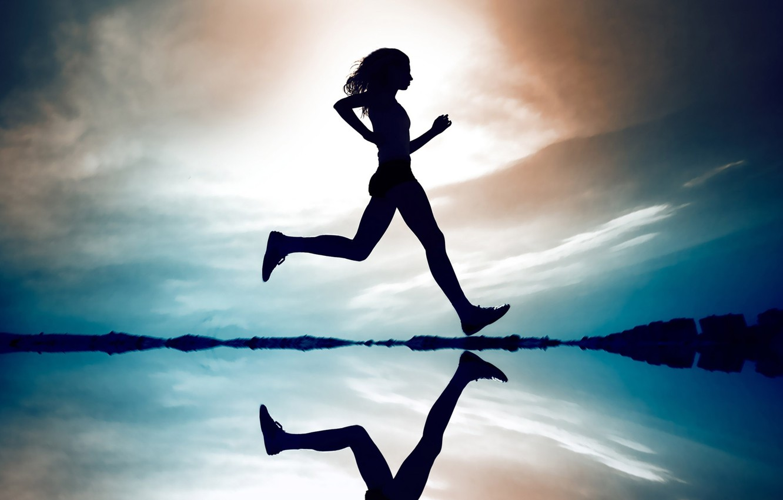 Photo wallpaper The sky, Reflection, Girl, Girl, Running, Silhouette, Sky, Silhouette, Reflection, Running, Probasco, Probasco