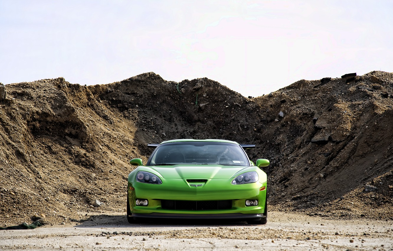 Photo wallpaper Corvette, Chevrolet, GREEN, LAND, MOUND
