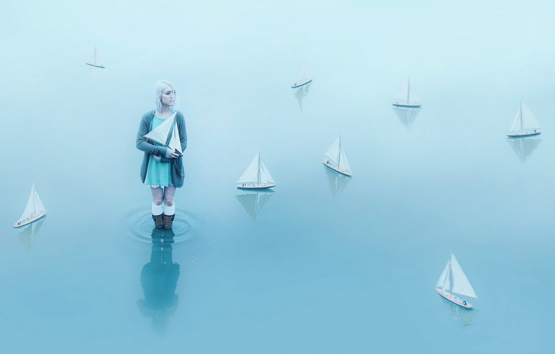 Photo wallpaper water, girl, boats