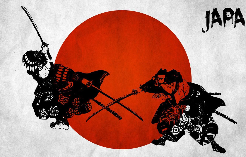 Photo wallpaper red, samurai, japanese wall decals