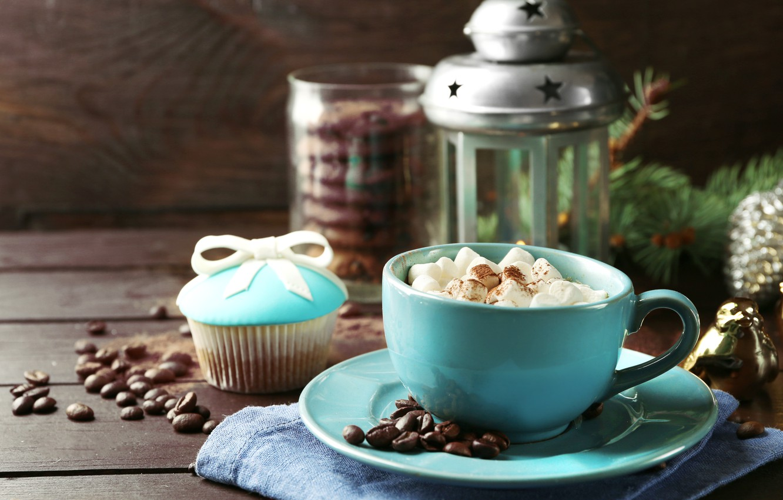 Photo wallpaper coffee, milk, cookies, lantern, Cup, cup, cocoa, coffee, cakes, cocoa, milk, cakes, lantern, biscuits