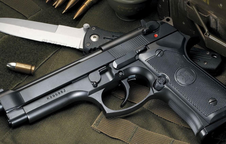 Photo wallpaper gun, knife, cartridges, beret