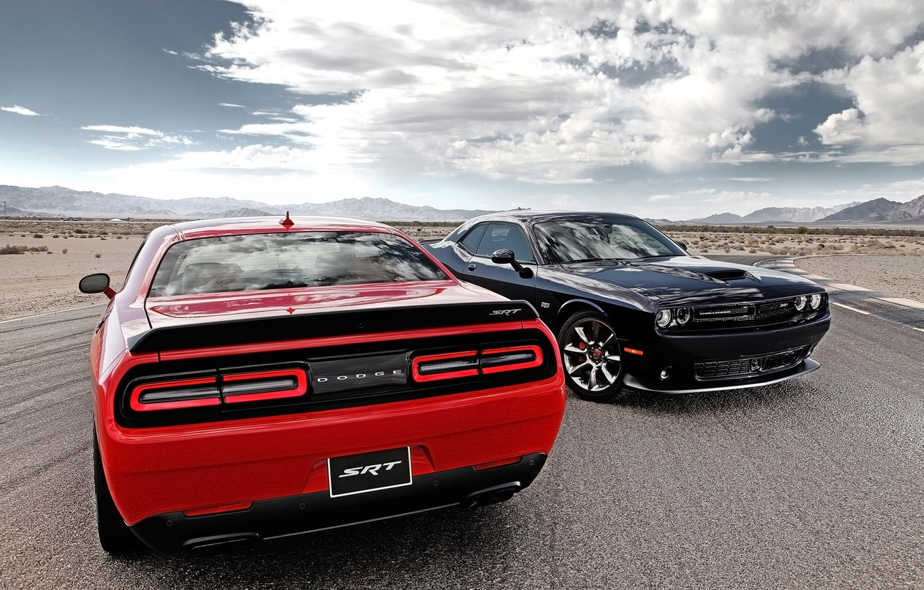 Photo wallpaper road, the sky, clouds, red, black, Dodge, Dodge, Challenger, rear view, the front, Muscle car, …