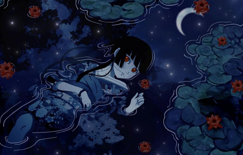 Photo wallpaper eyes, water, girl, reflection, a month, kimono
