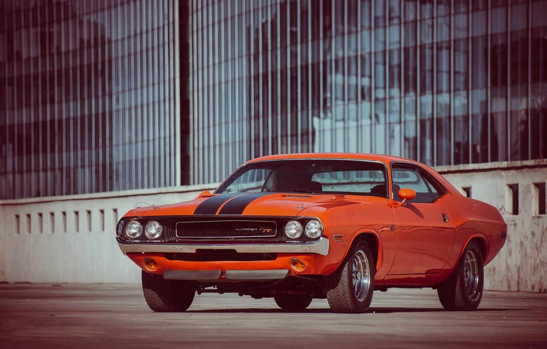 Photo wallpaper orange, Dodge, dodge, challenger, muscle car, r/t, 1970, orange, Challenger, muscl Kar