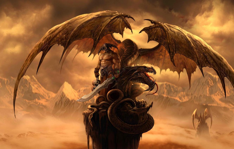 Photo wallpaper mountains, rock, dragon, wings, sword, warrior, art, skull, helmet, Dragon Eternity, dragons of eternity