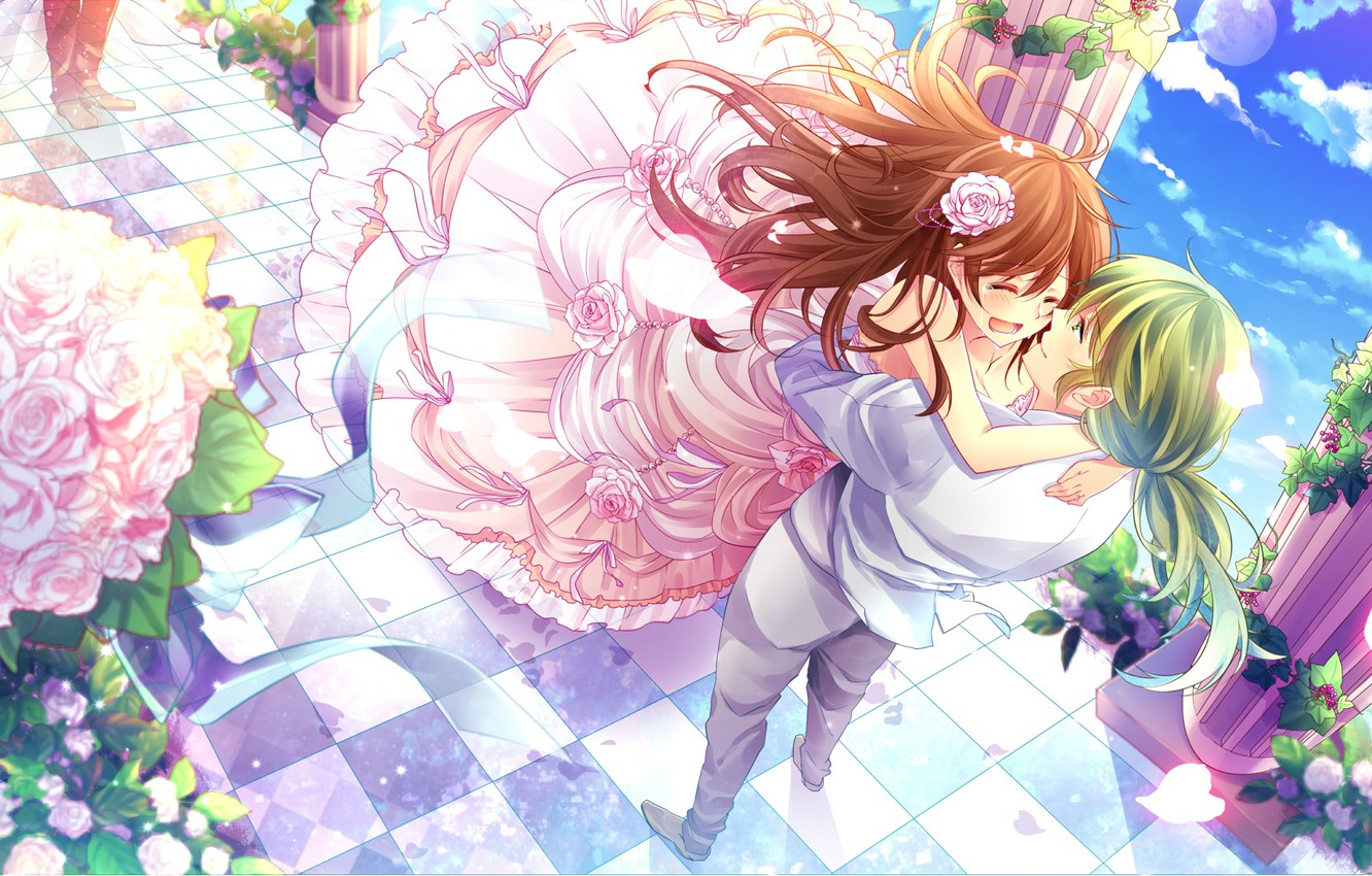 Photo wallpaper happiness, meeting, tears, columns, pink roses, chess floor, the fluffy skirt, the guy with the …