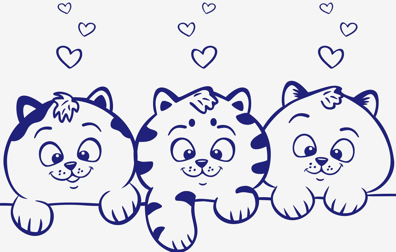 Photo wallpaper animals, look, vector, kittens, hearts
