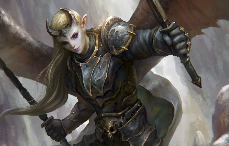 Photo wallpaper girl, weapons, wings, the demon, art, horns, cloak