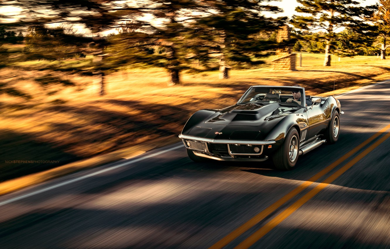 Photo wallpaper Corvette, Chevrolet, black, Stingray, Nick Stephens Photography
