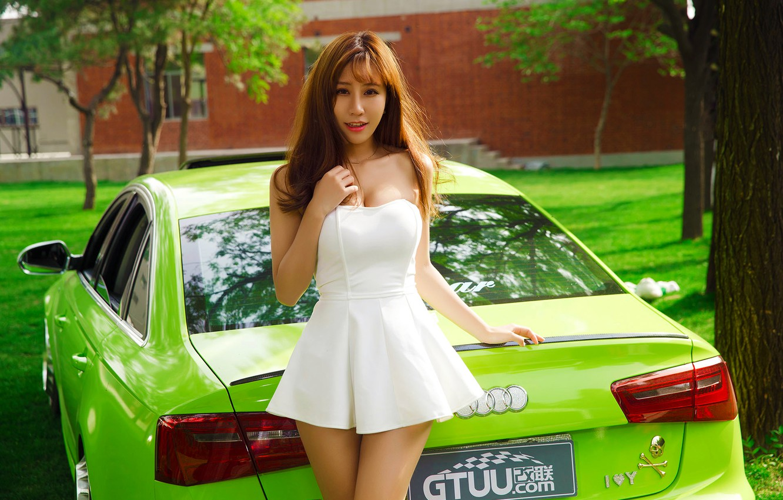 Photo wallpaper Audi, Car, Green, White, Pretty, Dress, Attractive, Yan Jiaqi