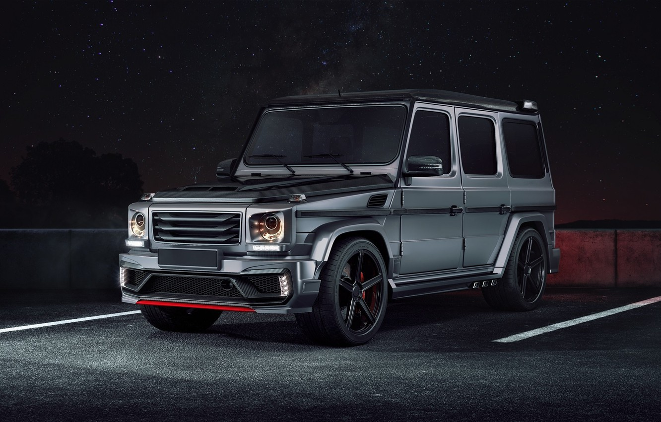 Photo wallpaper Mercedes-Benz, Front, AMG, Night, Tuning, G63, Black Stone