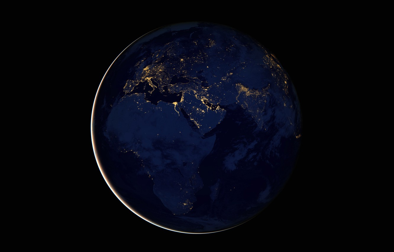 Photo wallpaper lights, planet, Earth, Africa, Eurasia