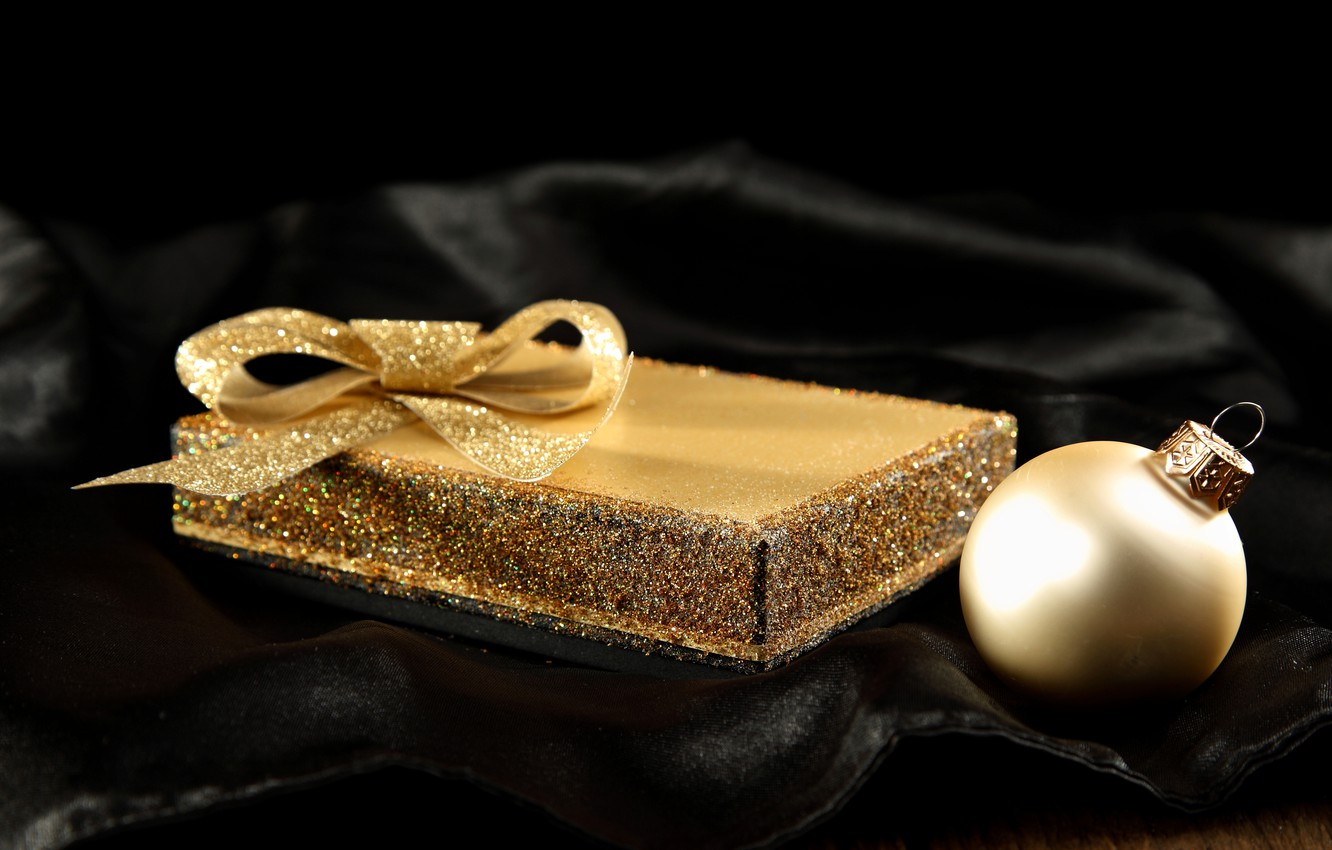 Photo wallpaper winter, box, gift, black, toys, ball, ball, silk, sequins, New Year, Christmas, fabric, gold, bow, …