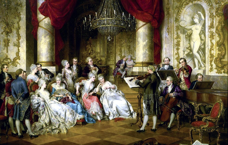 Photo wallpaper notes, ladies, violin, picture, Austria, piano, chandelier, statue, Concert, flute, Palace, hall, musicians, violin, Austria, …