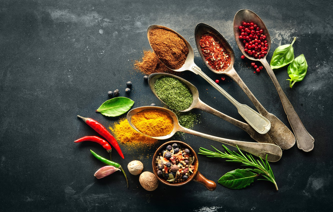 Photo wallpaper Leaves, Spoon, Pepper, Food, Nuts, Spices, Garlic