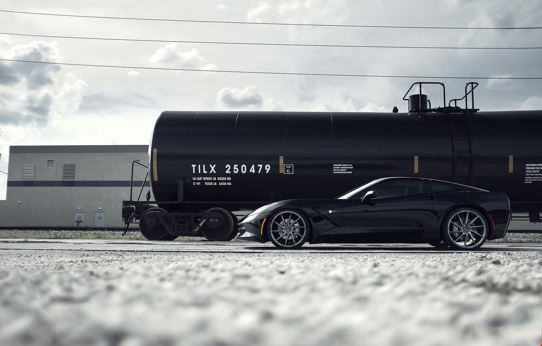 Photo wallpaper black, Corvette, Chevrolet, profile, wheels, Chevrolet, drives, black, Stingray, Corvette, tank