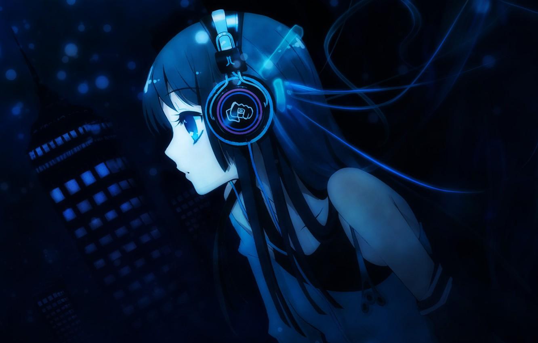 Photo wallpaper girl, blue, headphones, mio akiyama, k-on, mio, akiyama