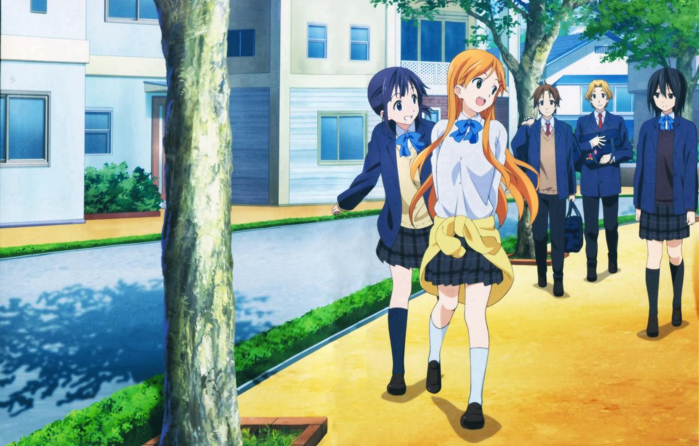 Photo wallpaper Anime, Yui Suggests Kiriyama, Iori Nagase, Kokoro Connect, Himeko Inaba, Tait Yaegasi, Yoshifumi Aoki.