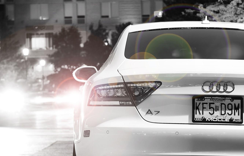 Photo wallpaper white, night, the city, Audi, audi, light, white, night, Sportback