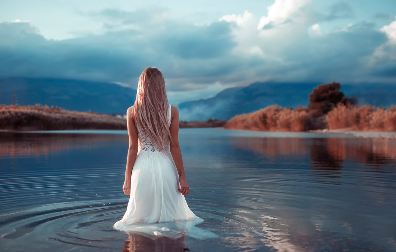 Photo wallpaper girl, dress, the bride, in the water, Mary Jane, Ivan Gorokhov