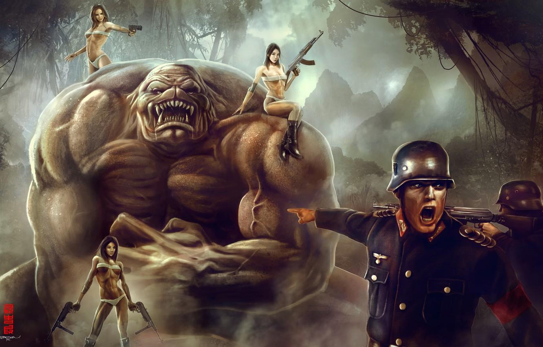 Photo wallpaper girls, people, monster, soldiers, German, kachek