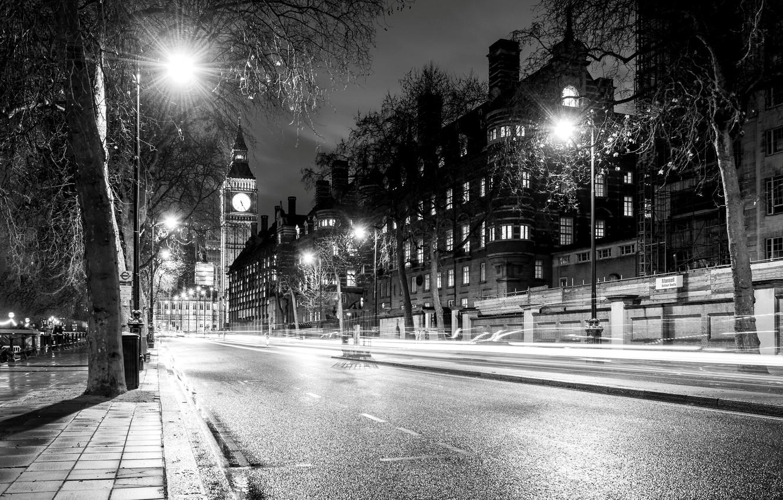 Photo wallpaper road, light, trees, night, the city, England, London, building, home, excerpt, lights, UK, Big Ben, …