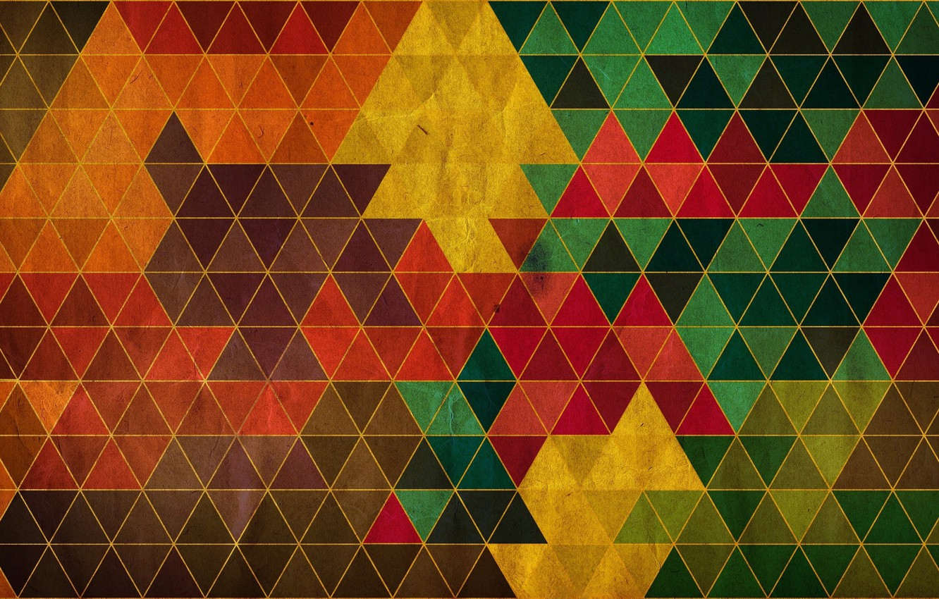 Photo wallpaper mosaic, abstraction, triangles, colorful