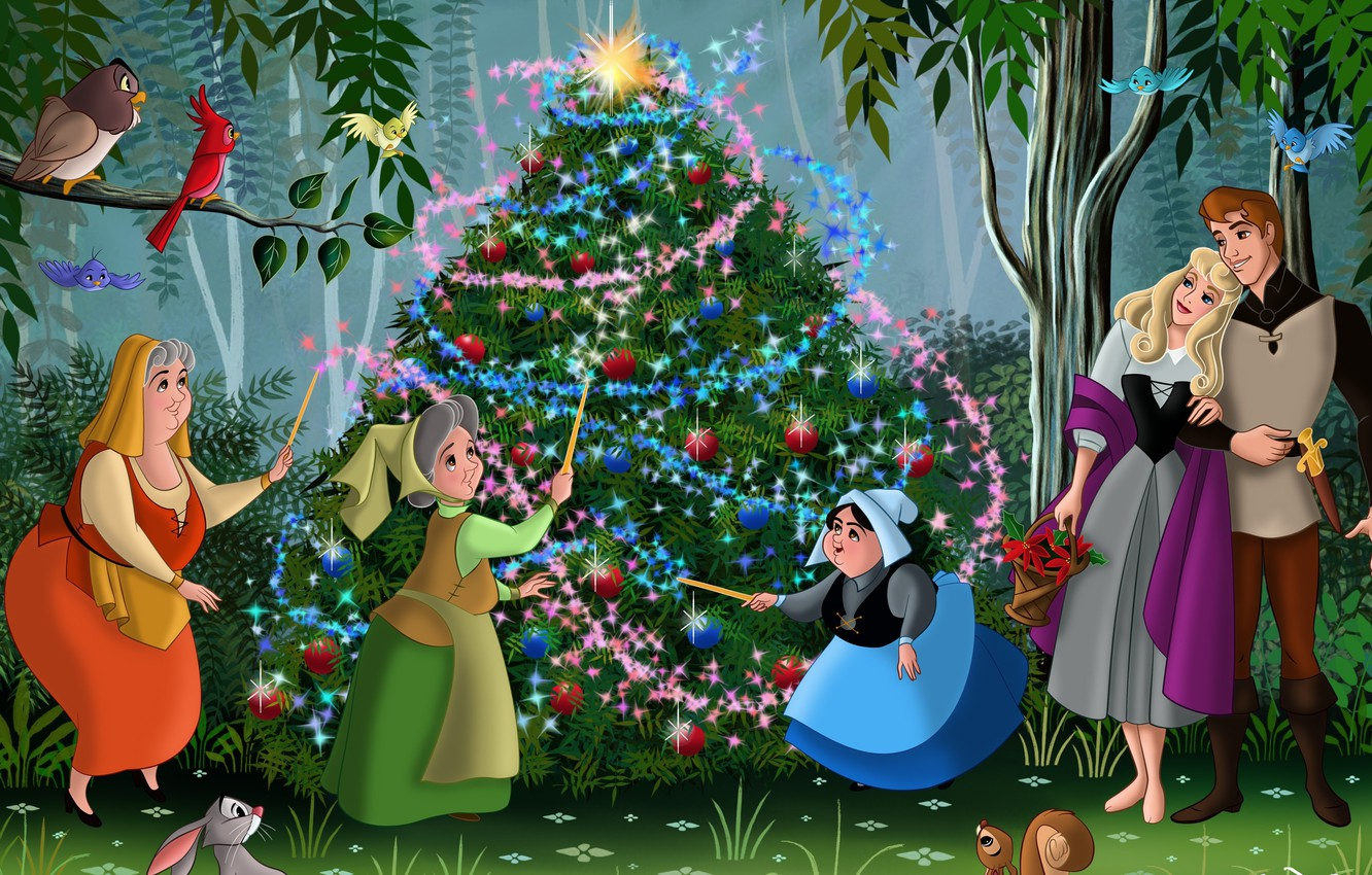 Photo wallpaper forest, birds, cartoon, tale, Rose, New Year, Christmas, Aurora, Prince, tree, forest, Christmas, friends, Princess, …