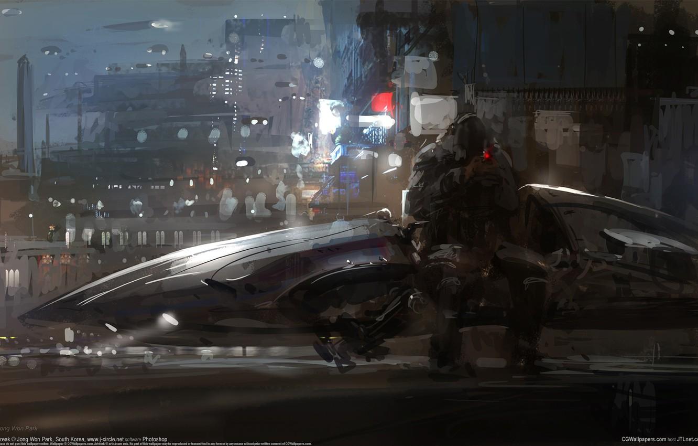 Photo wallpaper city, the city, fiction, people, ship, spaceship, sci-fi, CG wallpapers, Break, concept art, Jong Won …