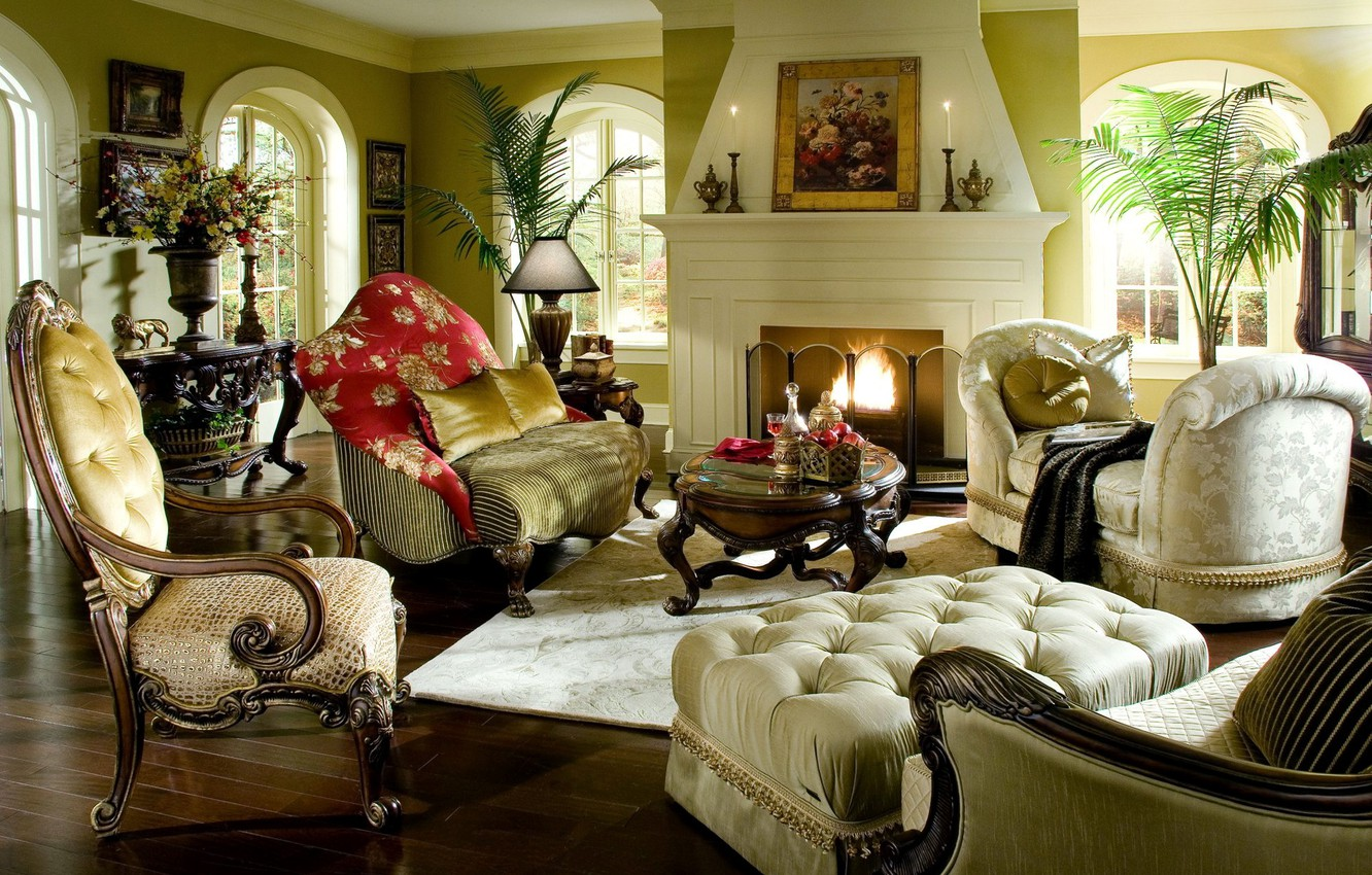 Photo wallpaper flowers, design, style, table, room, sofa, fire, interior, picture, chair, pillow, chair, fireplace
