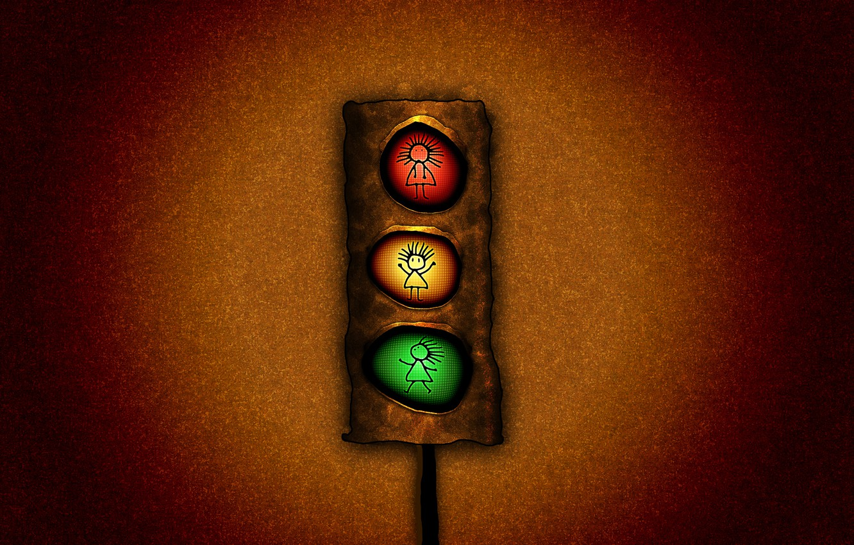 Photo wallpaper light, red, green, traffic light