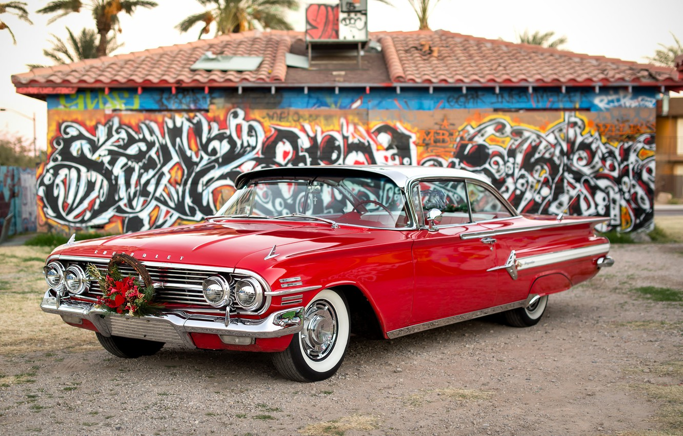 Photo wallpaper red, Chevrolet, 1960, the front, Impala