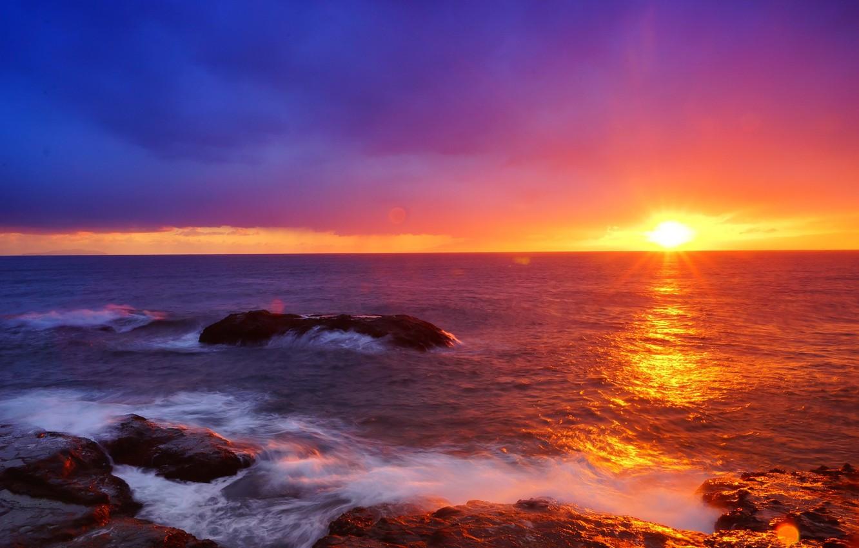 Photo wallpaper Japan, Sky, Beautiful, Landscape, Sun, Water, Sunset, Sea, Waves