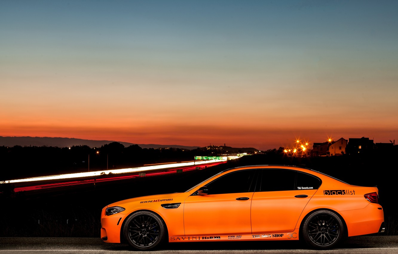 Photo wallpaper black, bmw, BMW, profile, drives, f10, Mat orange, matte orange