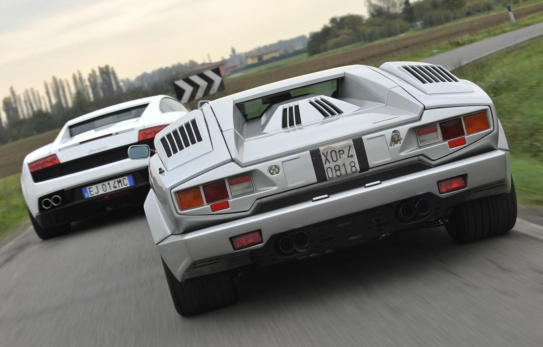 Photo wallpaper Lamborghini, Gallardo, rear view, and, supercars, Countach, Lamborghini, Gallardo, Countach