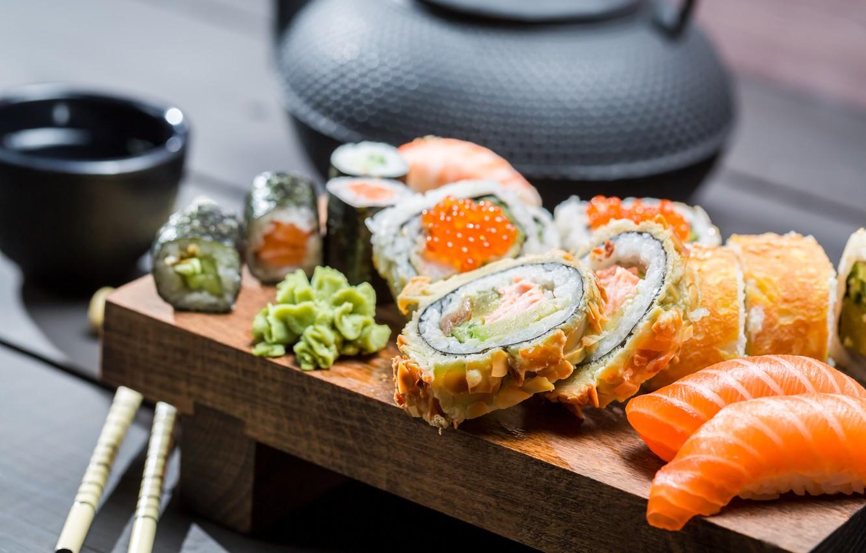 Photo wallpaper sticks, kettle, rolls, sushi, sushi, rolls, Japanese cuisine, soy sauce, sticks, soy sauce, Japanese cuisine, …