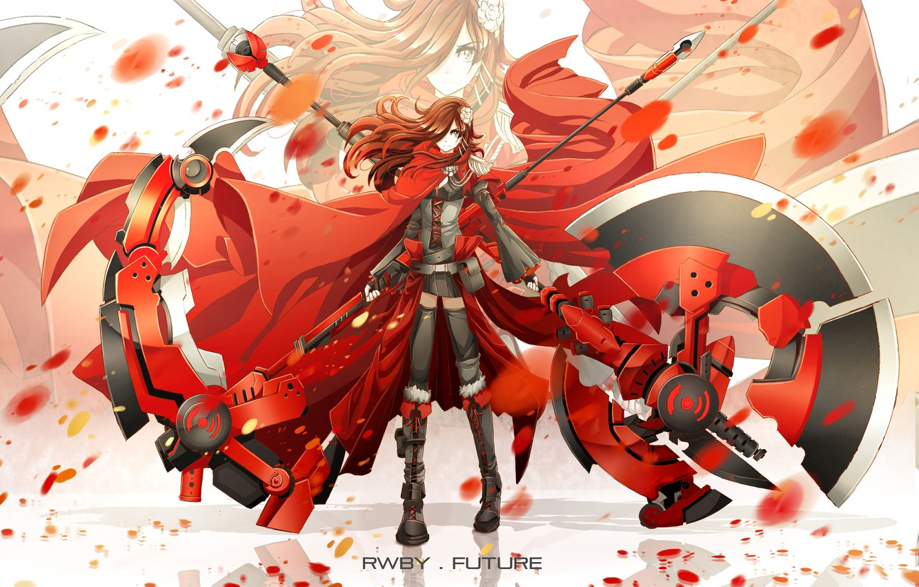 Photo wallpaper girl, weapons, anime, petals, scarf, art, chain,