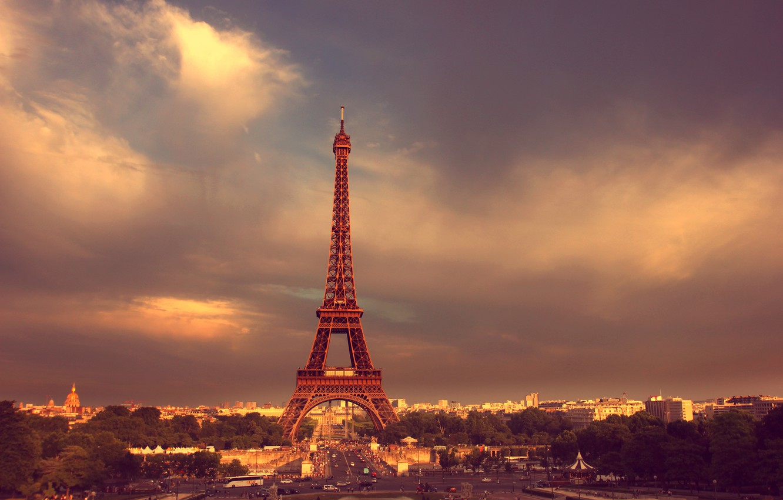 Photo wallpaper road, the sky, clouds, trees, people, Paris, Paris, Eiffel tower