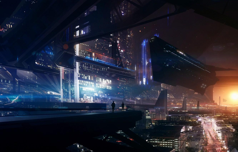 Photo wallpaper Shuttle, Sci-Fi, Cyberpunk