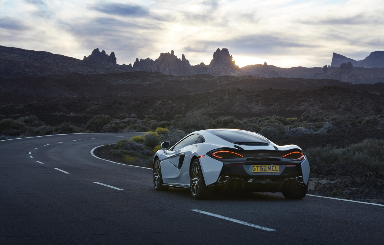 Photo wallpaper car, auto, the sky, McLaren, wallpaper, white, rear view, road, sky, beautiful, 570GT