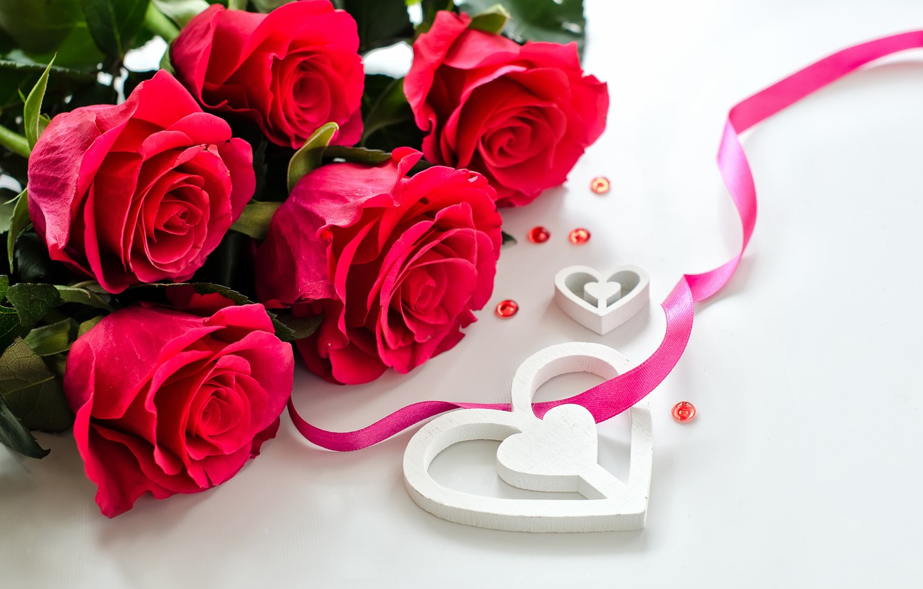 Photo wallpaper love, flowers, roses, petals, valentine's day