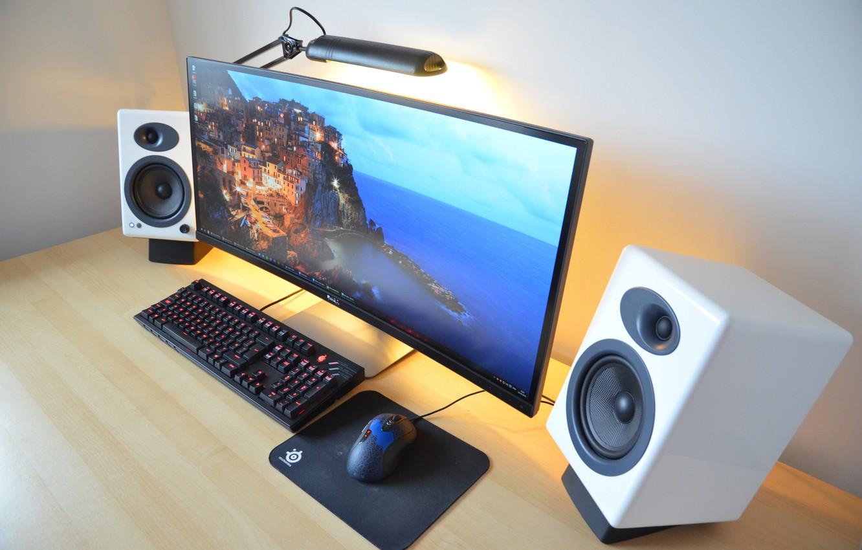 Photo wallpaper mouse, keyboard, elegant pedestal, Desktop pc, curved monitor
