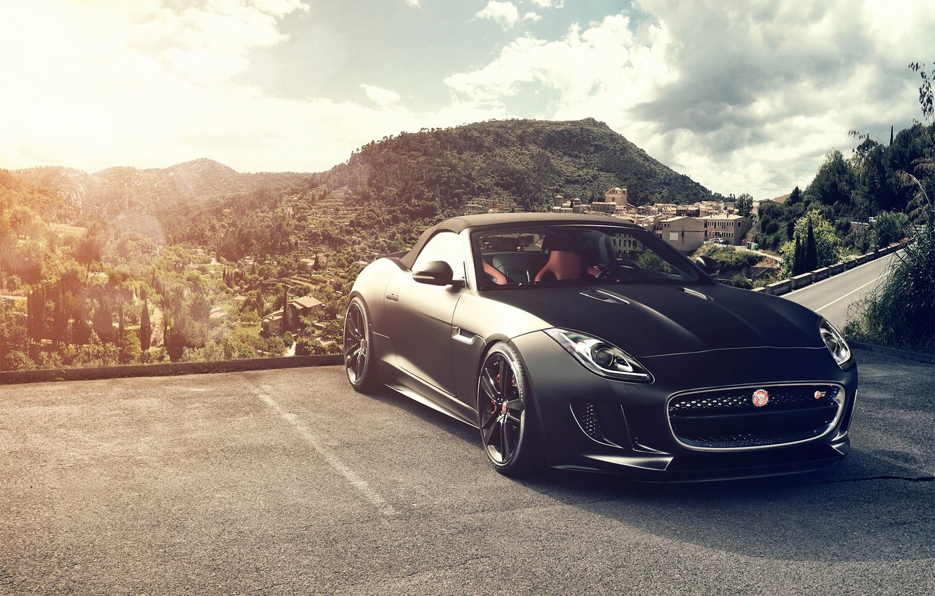 Photo wallpaper the sun, mountains, black, Jaguar, Jaguar, black, Blik, front, F-Type, V8 S, Fernandez World Photography