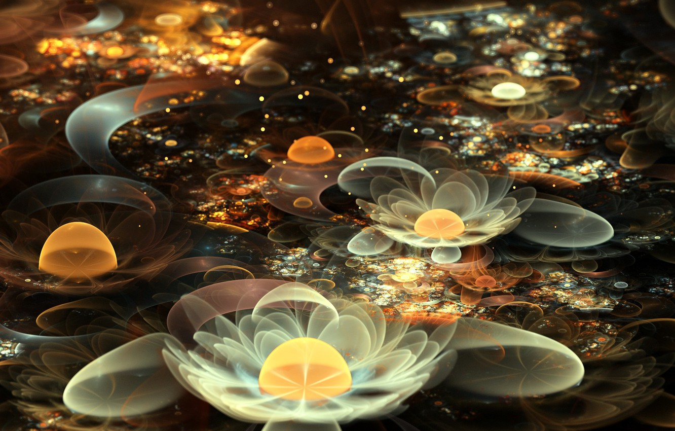 Photo wallpaper flowers, abstraction, Lily, fractal, white, water lilies