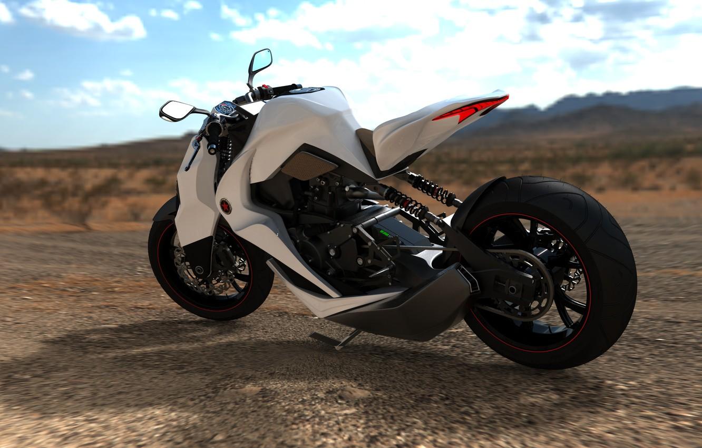 Photo wallpaper white, the sky, design, style, desert, figure, Moto, wheel, concept, moped, the concept, motorcycle, prototype, …