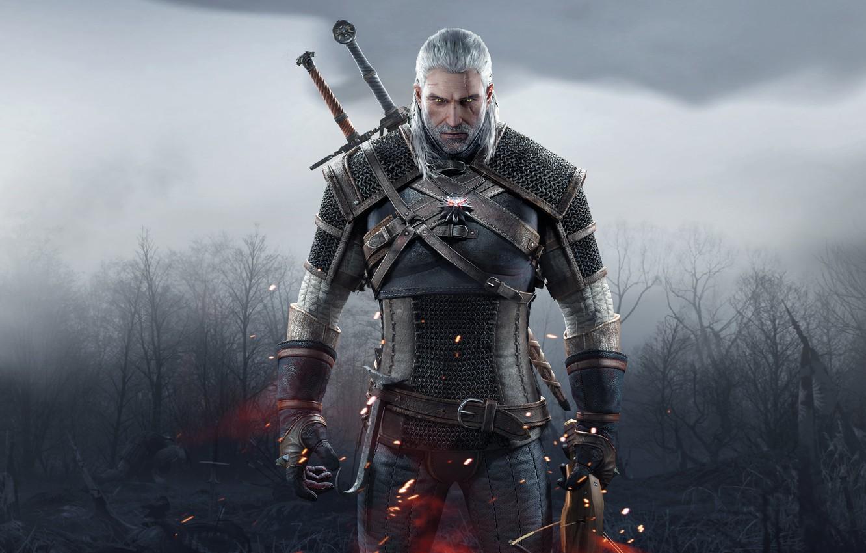 Photo wallpaper Look, Sword, Warrior, Beard, Armor, The Witcher, The Witcher, Geralt, Scar, Medallion, CD Projekt RED, …