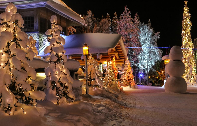 Photo wallpaper winter, snow, nature, photo, spruce, snowman, Finland, Lapland